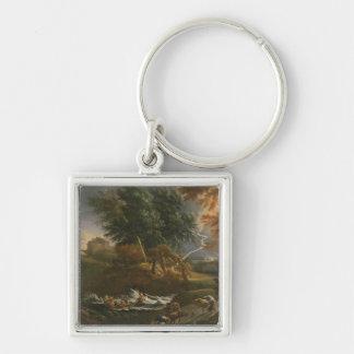Landscape 2 Silver-Colored square keychain