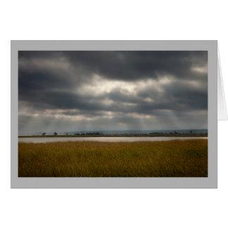 Landscape 32 Sun shining thru stormy clouds lake Card