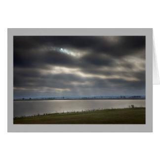 Landscape 33 Sun peeking thru stormy clouds Card