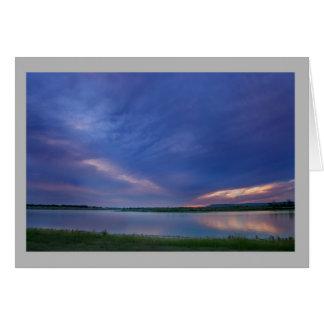 Landscape 53 Sunset lake storm clouds Card