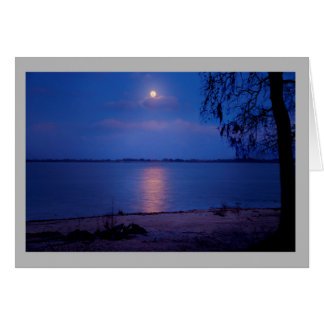 Landscape 60 Moonrise over winter lake Card