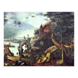 Landscape And Temptation Of St. Anthony By Bruegel 4.25x5.5 Paper Invitation Card