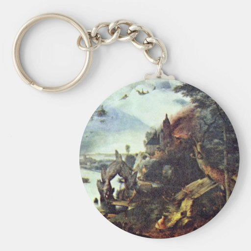 Landscape And Temptation Of St. Anthony By Bruegel Basic Round Button Keychain