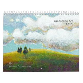 Landscape art fun whimsical colorful painting 2013 calendar