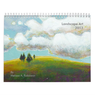Landscape art fun whimsical colorful painting 2013 calendar