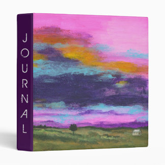 Landscape Art Painting Pink Sunset Tiny Farm House 3 Ring Binder