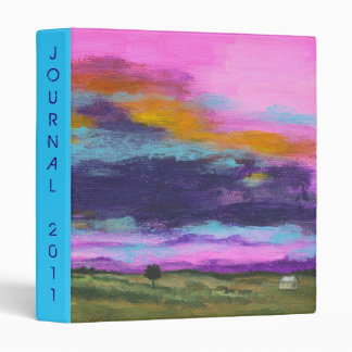 Landscape Art Painting, Pink Sunset, Tiny House 3 Ring Binder