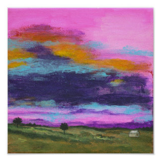 Landscape Art Painting, Pink Sunset, Tiny House Poster