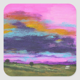 Landscape Art Painting, Pink Sunset, Tiny House Square Sticker