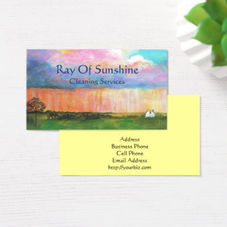 Landscape Art Painting Rainstorm Tiny Farm House Business Card