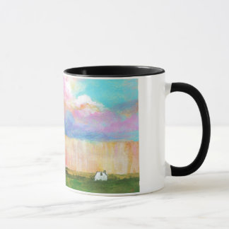 Landscape Art Painting Rainstorm Tiny Farm House Mug