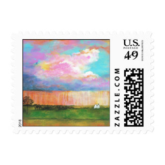 Landscape Art Painting Rainstorm Tiny Farm House Postage