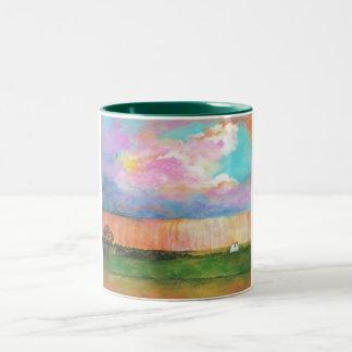 Landscape Art Painting Rainstorm Tiny Farm House Two-Tone Coffee Mug