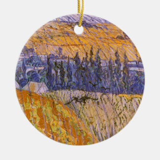 Landscape at Auvers in the Rain, Vincent van Gogh Double-Sided Ceramic Round Christmas Ornament