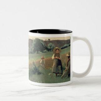 Landscape at Mornex, Haute-Savoie (oil on canvas) Two-Tone Coffee Mug