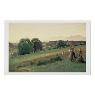 Landscape at Mornex, Haute-Savoie (oil on canvas) Poster