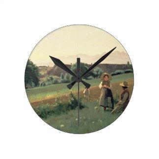 Landscape at Mornex, Haute-Savoie (oil on canvas) Round Clock