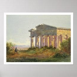 Landscape at Paestum (w/c on paper) Poster