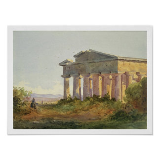 Landscape at Paestum (w/c on paper) Poster