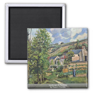 Landscape At Pontoise By Pissarro Camille 2 Inch Square Magnet