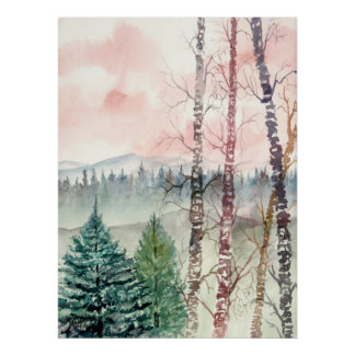 landscape birch tree painting poster