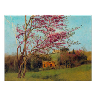 Landscape Blossoming Red Almond study by Godward Poster