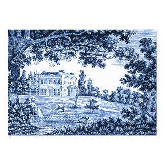 Landscape Blue Victorian Home Card