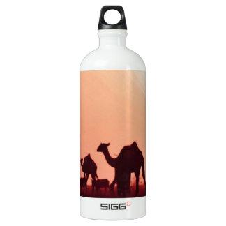 Landscape camel animals fields sunset jungle art N Aluminum Water Bottle