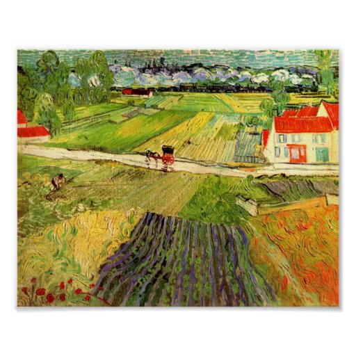 Landscape, Carriage and Train Van Gogh Fine Art Poster