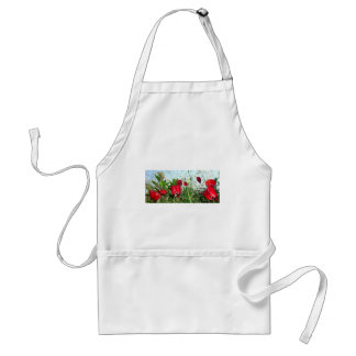 Landscape Close Up Poppies Against Morning Sky Adult Apron