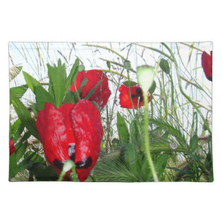 Landscape Close Up Poppies Against Morning Sky Cloth Placemat