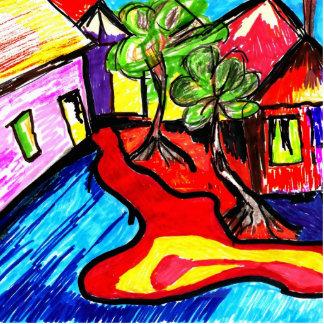 landscape colorful art - deco sculpture standing photo sculpture