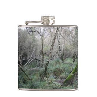 Landscape cork oaks and nature in Doñana, Spain Hip Flask