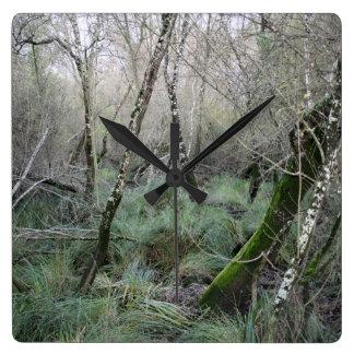 Landscape cork oaks and nature in Doñana, Spain Square Wall Clock