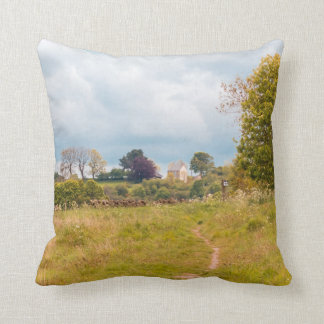Landscape countryside path summer cushion throw pillow