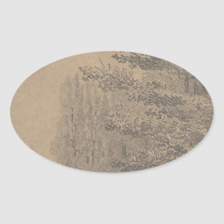 Landscape creation of Jesus Christ Oval Sticker