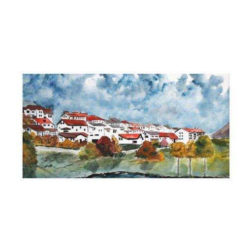 landscape European watercolor painting Canvas Print
