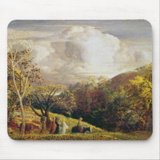 Landscape, figures and cattle mouse pad