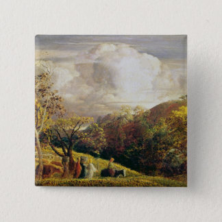Landscape, figures and cattle pinback button
