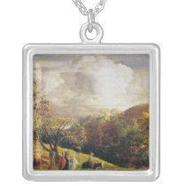 Landscape, figures and cattle silver plated necklace
