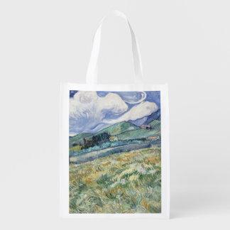 Landscape from Saint-Remy by Vincent Van Gogh Reusable Grocery Bag