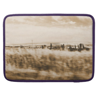 Landscape from the window of an automobile sleeve for MacBooks