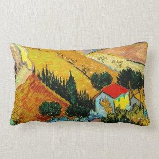 Landscape House and Ploughman Vincent Van Gogh Pillows