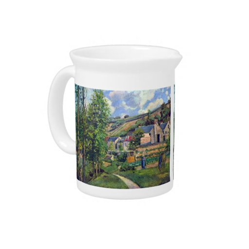 Landscape in Pontiose by Camille Pissarro Beverage Pitchers