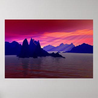 landscape in purpur poster