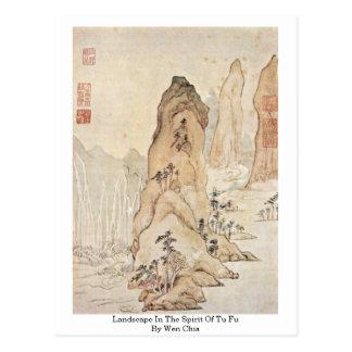 Landscape In The Spirit Of Tu Fu By Wen Chia Postcard