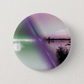 landscape lake at sunset pinback button