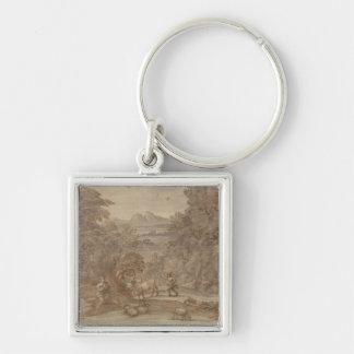 Landscape  Mercury and Apollo Silver-Colored Square Keychain