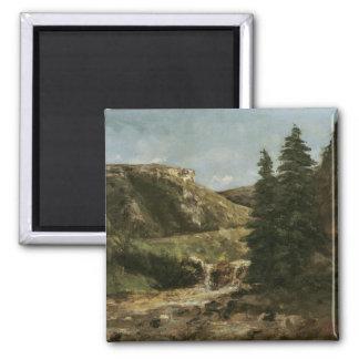 Landscape near Ornans, c.1858 2 Inch Square Magnet