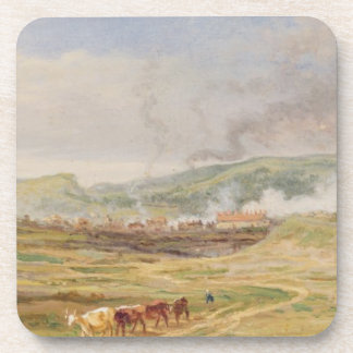 Landscape near Swansea, South Wales (oil on panel) Drink Coaster